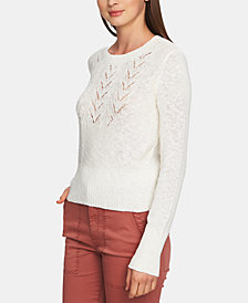 1.STATE Pointelle-Yoke Long-Sleeve Sweater