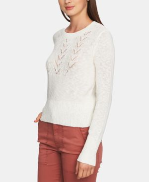 1.STATE Pointelle-Yoke Long-Sleeve Sweater in Antique White
