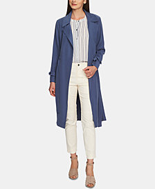 1.STATE Twill Tie Waist Trench Coat