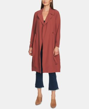 1.STATE Soft Twill Belted Trench Coat in Terra Earth