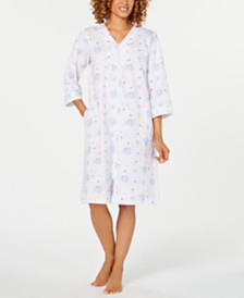 Miss Elaine Printed French Terry Short Zip Robe