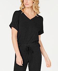 Alfani Ultra Soft Ribbed Knit Pajama Top, Created for Macy's
