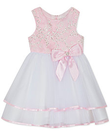 Rare Editions Baby Girls Embroidered Sequin Tiered Dress
