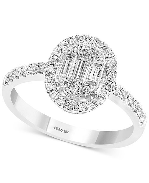 EFFY Collection EFFY® Diamond Baguette Halo Diamond Ring (1/2 ct. t.w.) in 14k White Gold
