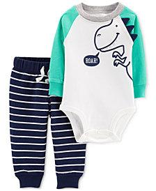 Carter's Baby Boys 2-Pc. Dino-Print Cotton Bodysuit & Striped Pants
