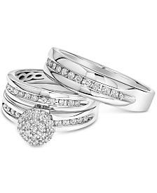 Diamond Cluster Bridal Set Trio Collection for Men and Women in 14k White Gold