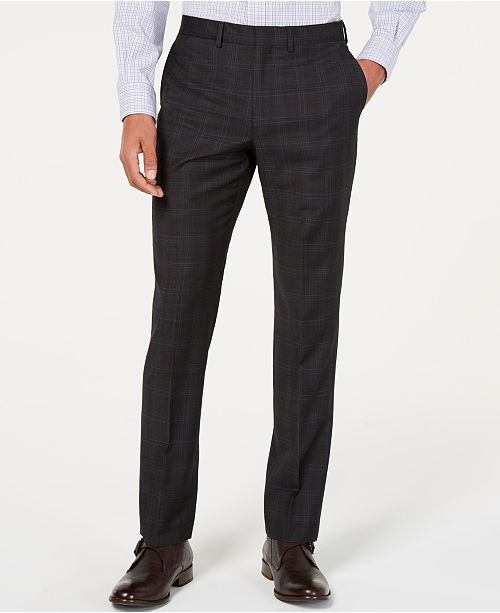 DKNY Men's Modern-Fit Plaid Wool Pants