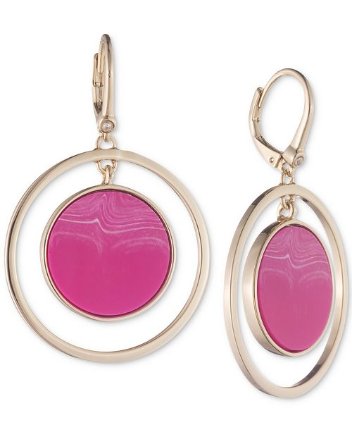DKNY Stone Orbital Large Drop Hoop Earrings, Created for Macy's