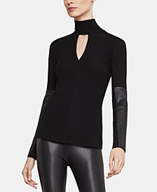 Faux-Leather-Trim Turtleneck Top