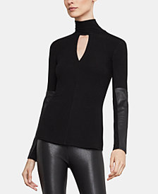 BCBGMAXAZRIA Faux-Leather-Trim Turtleneck Top