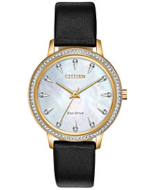 Citizen Eco-Drive Women's Silhouette Black Leather Strap Watch 36mm