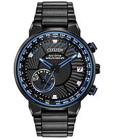 Citizen Eco-Drive Men's Satellite Wave-World Time GPS Black-Tone Stainless Steel Bracelet Watch 44mm