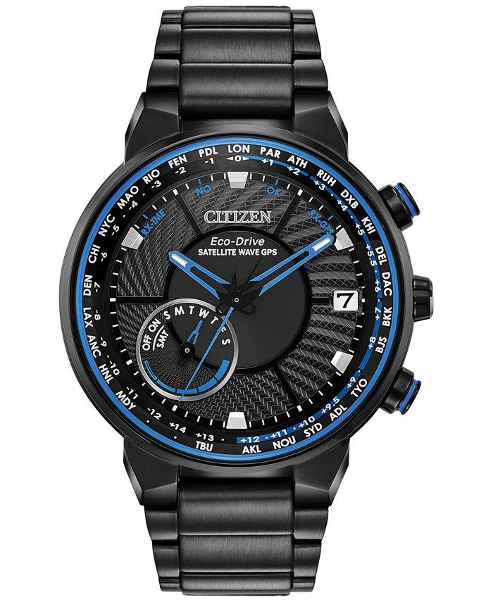 Citizen - Men's Satellite Wave-World Time GPS Black-Tone Stainless Steel Bracelet Watch 44mm