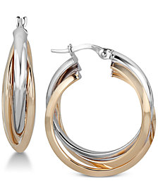 Two-Tone Triple Hoop Earrings in 14k Gold & White Gold