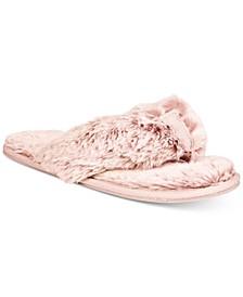 Women's Faux-Fur Memory Foam Flip-Flop Slippers