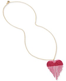 "Two-Tone Chain Fringe Heart 31"" Pendant Necklace"
