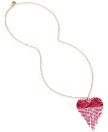"Betsey Johnson Two-Tone Chain Fringe Heart 31"" Pendant Necklace"