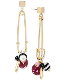 Betsey Johnson Gold-Tone Multi-Charm Safety Pin Drop Earrings
