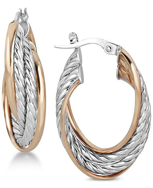 Macy's Two-Tone Textured Hoop Earrings in 14k Gold & White Gold