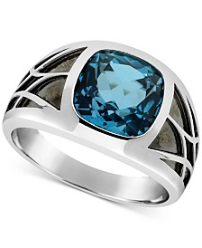 Men's London Blue Topaz Ring (5-5/8 ct. t.w.) in Sterling Silver & Black Rhodium-Plate