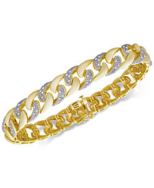 Men's Diamond Link Bracelet (1/2 ct. t.w.) in 14k Gold-Plated Sterling Silver