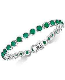 Emerald Rope-Framed Link Bracelet (14 ct. t.w.) in Sterling Silver