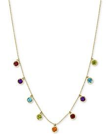 "EFFY® Multi-Gemstone Dangle Statement 18"" Necklace (2-1/10 ct. t.w.) in 14k Gold"