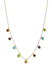 "EFFY® Multi-Gemstone Dangle Statement 18"" Necklace (2-1/10 ct. t.w.) in 14k Gold"
