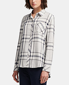 DKNY Plaid Button-Front Shirt