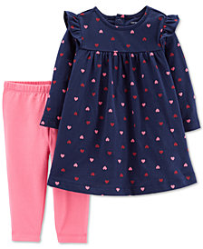 Carter's Baby Girls 2-Pc. Heart-Print Tunic & Leggings Set