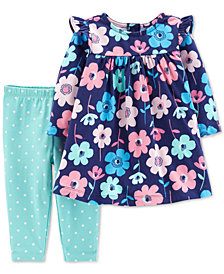 Carter's Baby Girls 2-Pc. Floral-Print Tunic & Dot-Print Leggings Set