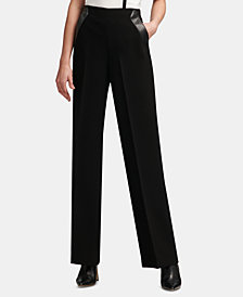 DKNY Wide-Leg Faux-Leather-Detail Pants