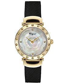 Ferragamo Women's Swiss Ferragamo Style Black Leather Strap Watch 34mm