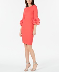 Calvin Klein Lace-Trim Bell-Sleeve Sheath Dress