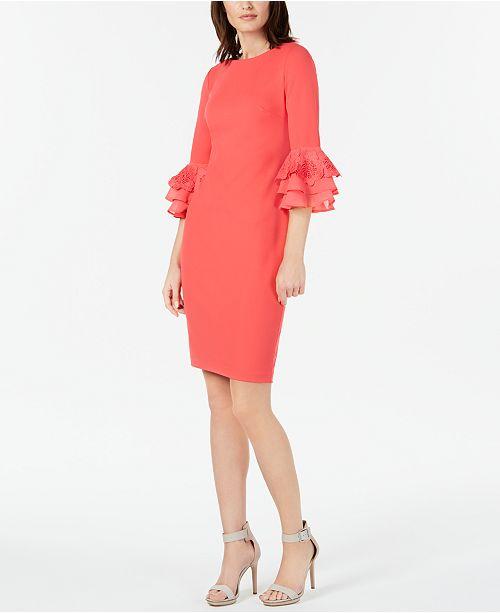 959ec027f Calvin Klein Lace-Trim Bell-Sleeve Sheath Dress & Reviews - Dresses ...