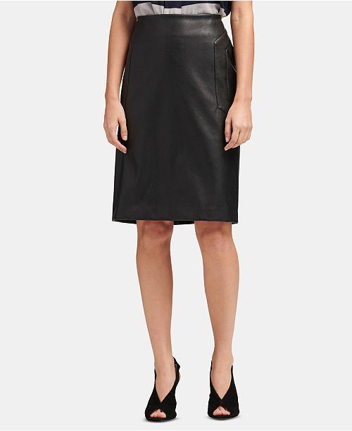 fda578c8221e4 DKNY Faux-Leather Pencil Skirt   Reviews - Skirts - Women - Macy s