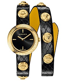 Women's Swiss Medusa Stud Icon Black Calf Leather Wrap Strap Watch 28mm