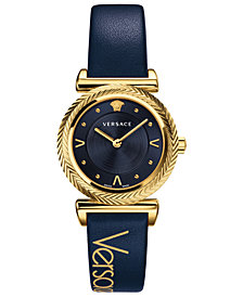 Versace Women's Swiss V-Motif Vintage Logo Blue Calf Leather Strap Watch 35mm