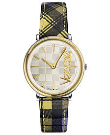 Versace Women's Swiss V-Circle Clans Edition Yellow Plaid Leather Strap Watch 38mm