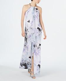 Calvin Klein Printed Halter Ruffle Gown