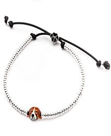 Beagle Head Bracelet in Sterling Silver and Enamel