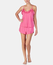 Betsey Johnson Ruffle-Trimmed Printed Knit Pajama Set