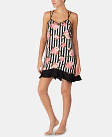 Betsey Johnson Strappy Ruffle-Hem Chemise Nightgown