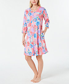 Miss Elaine Petite Printed Short Zip Robe