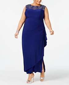 Alex Evenings Plus Size Illusion Cascade Gown