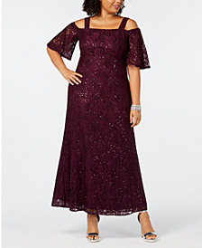 Alex Evenings Plus Size Cold-Shoulder Lace Gown