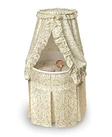 Empress Round Baby Bassinet With Canopy - Ecru Wnd Leaf Print Bedding