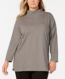Eileen Fisher Plus Size Funnel-Neck Organic Cotton Tunic Top