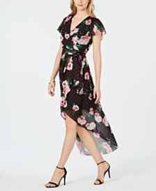 julia jordan Short-Sleeve Floral-Dot Maxi Wrap Dress