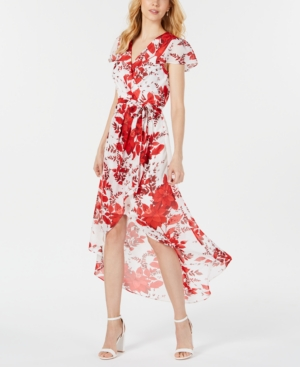 Julia Jordan Dresses JULIA JORDAN SHORT-SLEEVE FLORAL WRAP MAXI DRESS